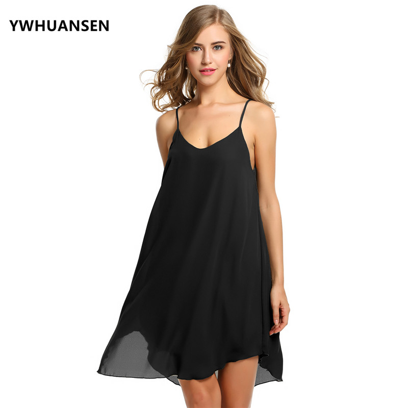 YWHUANSEN Sexy Chiffon Pregnant Dresses Woman Slip Dress Beach Pregnant Loose Clothing C ...