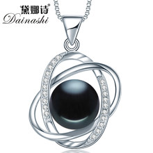 Dainashi new arrival star cross 10-10.5mm black bread round pearl 925 sterling silver slide pendant for bridal women best gift(China)