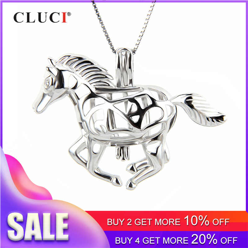 CLUCI 925 Sterling Silver Running Horse Cage Pendant Charms for Women Silver Animal Shaped Pendant Pearl Locket