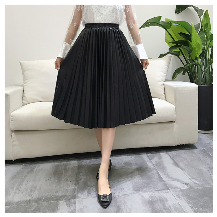 2018 11 11 PU Accordion Pleated Skirt Autumn & Winter New Style Leather Skirt High Waist Faldas Largas Elegantes Free Shipping 2