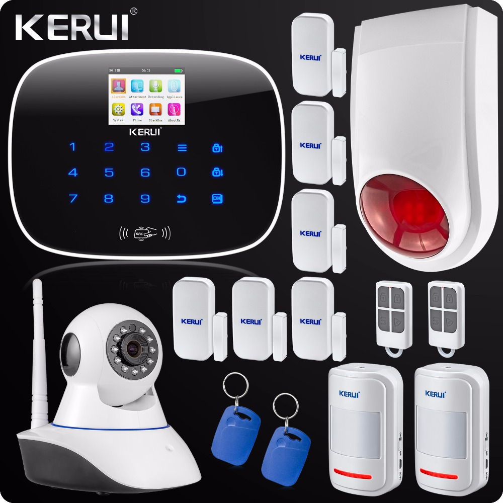 GSM  App Control Wireless Home Security Alarm System Wifi IP Camera SMS RFID Autodial SMS Detector Kit Wireless Flash Siren yobangsecurity touch keypad wireless wifi gsm home security burglar alarm system wireless siren wifi ip camera smoke detector