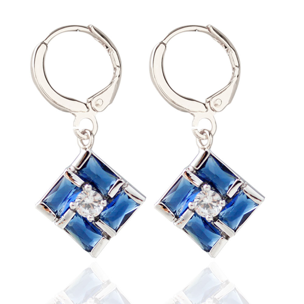 Women Elegant Silver Color&gold Color Crystal Square Stylish Hoop Geometric  Earrings Brincos Pendientes Mujer Gift(