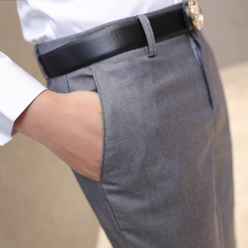 HCXY 2019 Summer Men s Smart Casual Pants Men Slim Straight Suit Pants Male Trousers Thin HCXY 2019 Summer Men's Smart Casual Pants Men Slim Straight Suit Pants Male Trousers Thin Smooth fabric Solid classic trousers