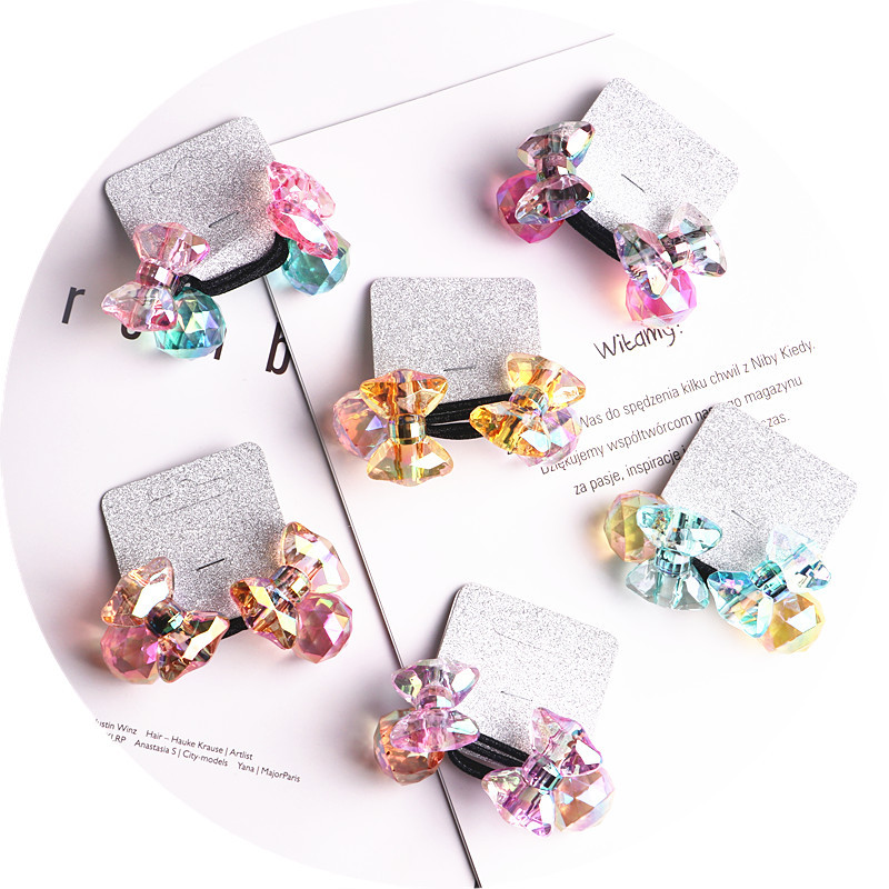 2018 New 20pcs/lot Children Hair Accessaries acrylic bowknot Blasting beads Balls Hair Bands Elastic Ropes Ties Ponytail HolderHair Accessories   -