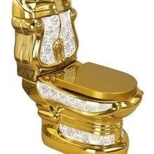 Цветной литографический цветочный Золотой унитаз/раковина для ванной комнаты позолоченный керамический унитаз роскошный пьедестал Европейская сантехника