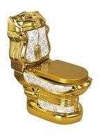 Принимает colorized литографии цветок золото туалеты/бассейна ванная комната Позолоченные Керамический Унитаз Роскошные пьедестал сантехники