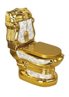 Adopte la lithographie colorisée fleur or toilettes/bassin salle de bains plaqué or en céramique closestool luxe piédestal sanitaire