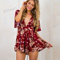 Fashion High Quality Women Summer Casual High Waist Sleeveless Floral Print Jumpsuit Playsuit Short Romper overalls for women XL