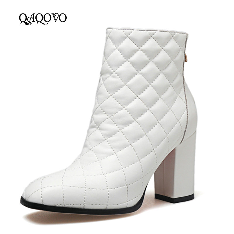 Cow Leather Women Ankle Boots Square High Heels Back Zipper Boots Autumn Winter Fashion Woman Shoes