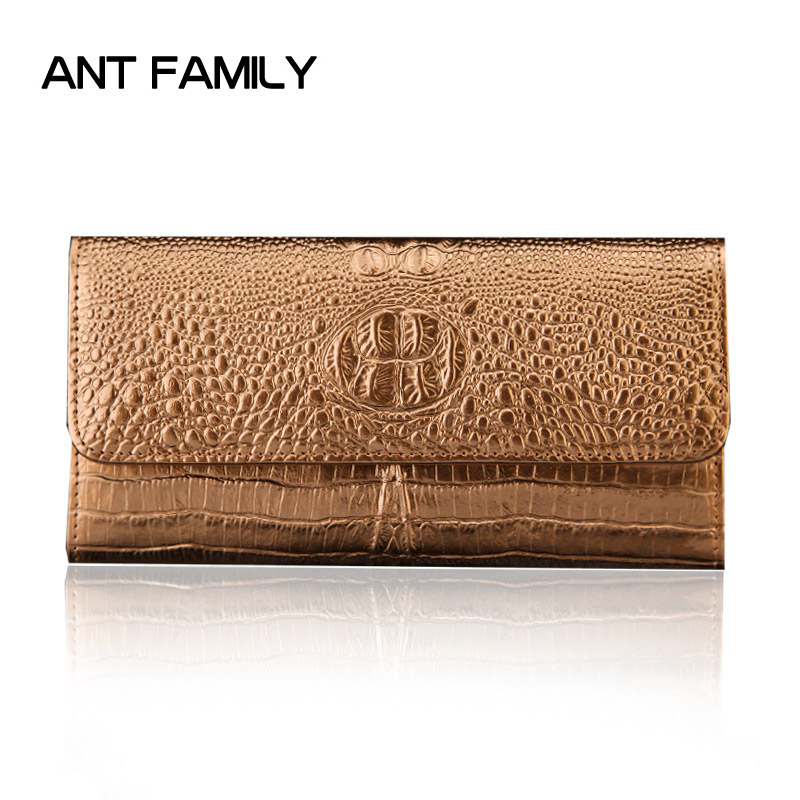 Ladies Genuine Leather Wallet Women Fashion Alligator Wallets Luxury Brand Coin Purse Female Clutch 3 Fold Cowhide Long Wallet first layer cowhide genuine leather oil wax 3 fold wallets clutch vintage fashion ladies purse female famous brand high quality