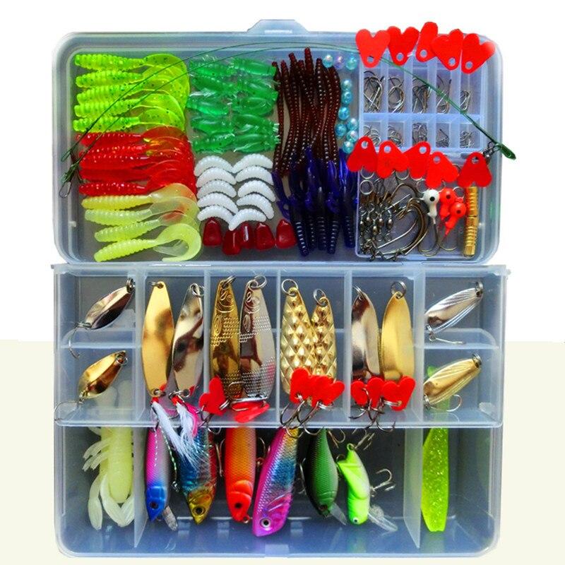 192 Pcs Fishing Lure Set With <font><b>Box</b></font> Fishing Lure Kits Metal Hard Bait Soft Bait Plastic Silicon Lure Wobbler Frog Accessory FU197