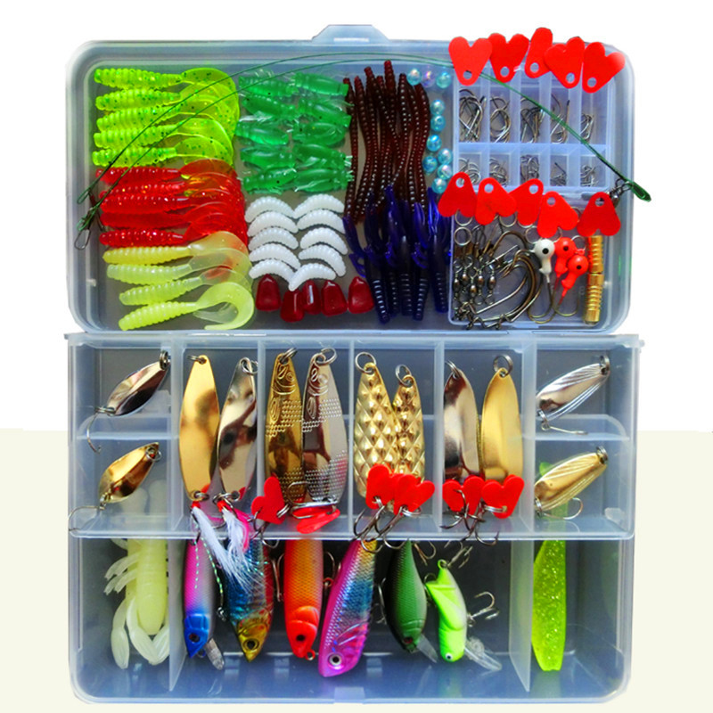 192 Pcs <font><b>Fishing</b></font> Lure Set With Box <font><b>Fishing</b></font> Lure Kits Metal Hard Bait Soft Bait Plastic Silicon Lure Wobbler Frog Accessory FU197