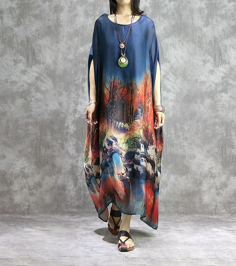 Vrouwen gedrukt Retro Plus Size Jurk Dames Vintage Robe Jurken Vrouwelijke Vintage Elegante Dunne Jurk 2019 Vleermuis Mouw Jurk-in Jurken van Dames Kleding op  Groep 3