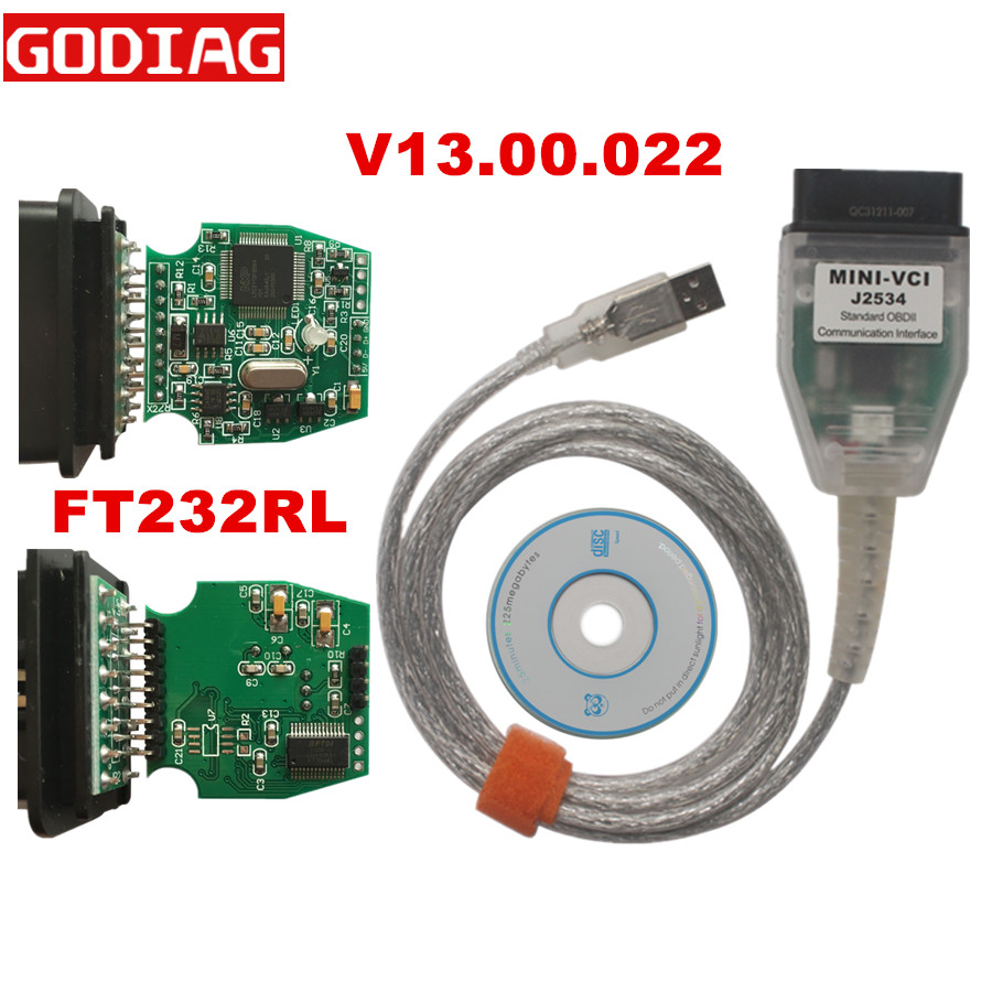 V13.00.022 MINI VCI FT232RL FOR TOYOTA TIS Techstream Single Cable For Toyota TIS MINI VCI J2534 Diagnostic Tool