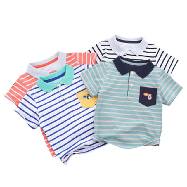ed9544dce 2019 New Summer Kids Striped Pocket Polos Shirts Short Sleeve Shirt For Boy  Lapel Casual Handsome