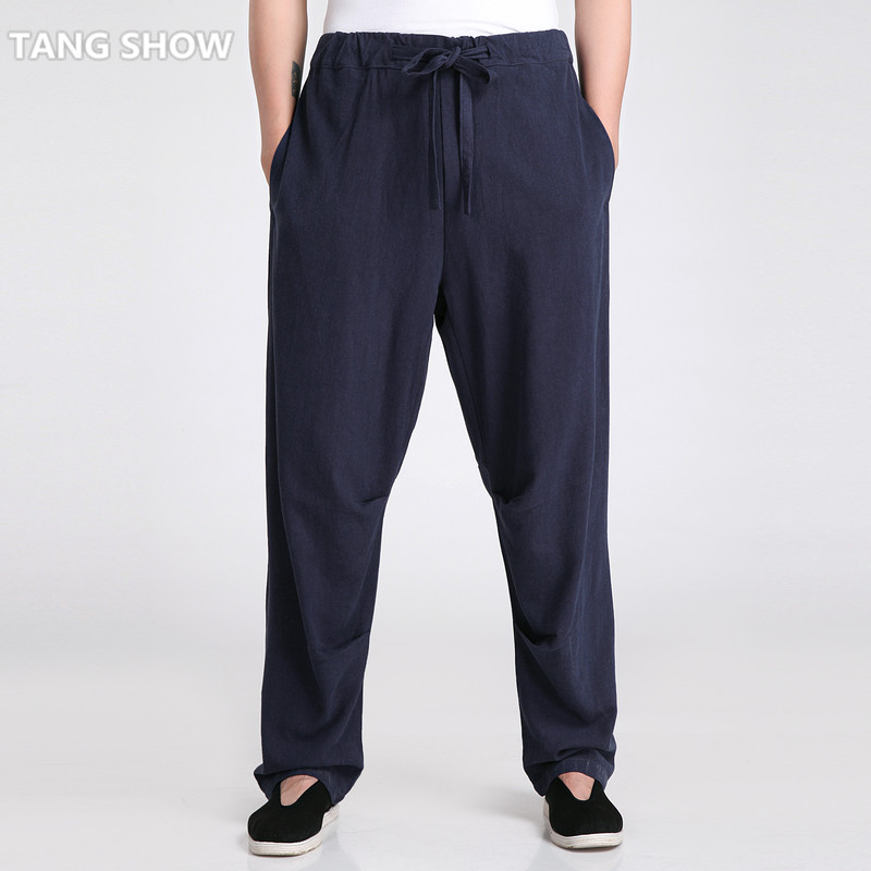 Traditional Chinese Men's Cotton Linen Kung Fu Pant Casual Loose Long Trousers Tai Chi  Clothing S M L XL XXL XXXL 2601-3