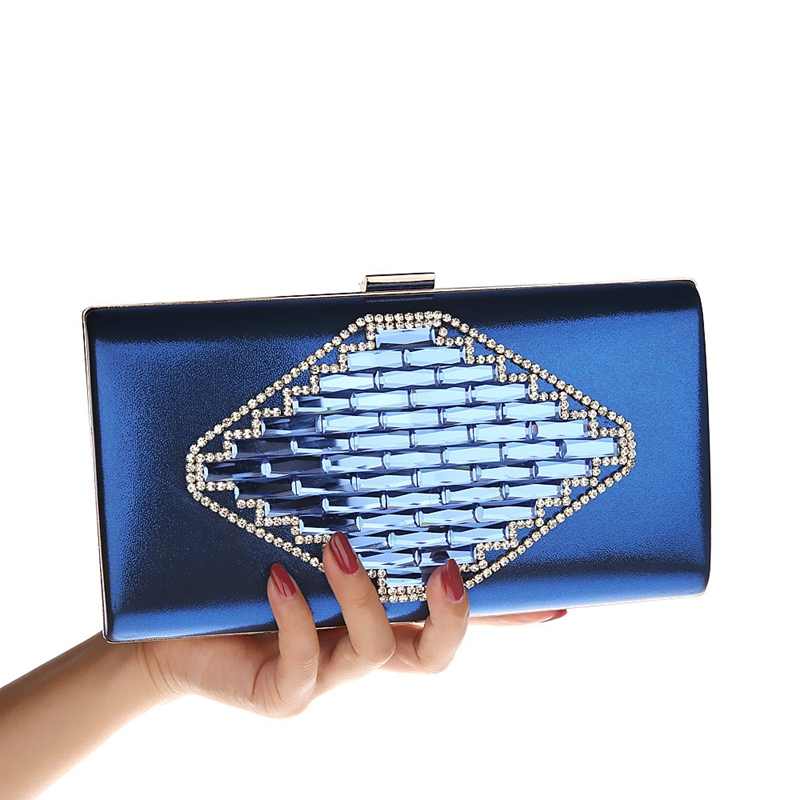 2018 New Women Clutch Bag Ladies Crystal Diamond Evening Bags Royal Blue Day Clutches Purses Female Party Banquet Wedding Bag