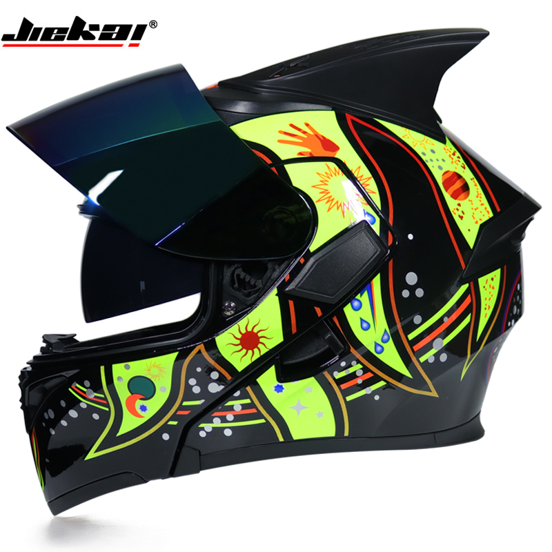 New Arrival JIEKAI 902 flip up double lens motorcycle helmet removable and washable liner Aerodynamic design