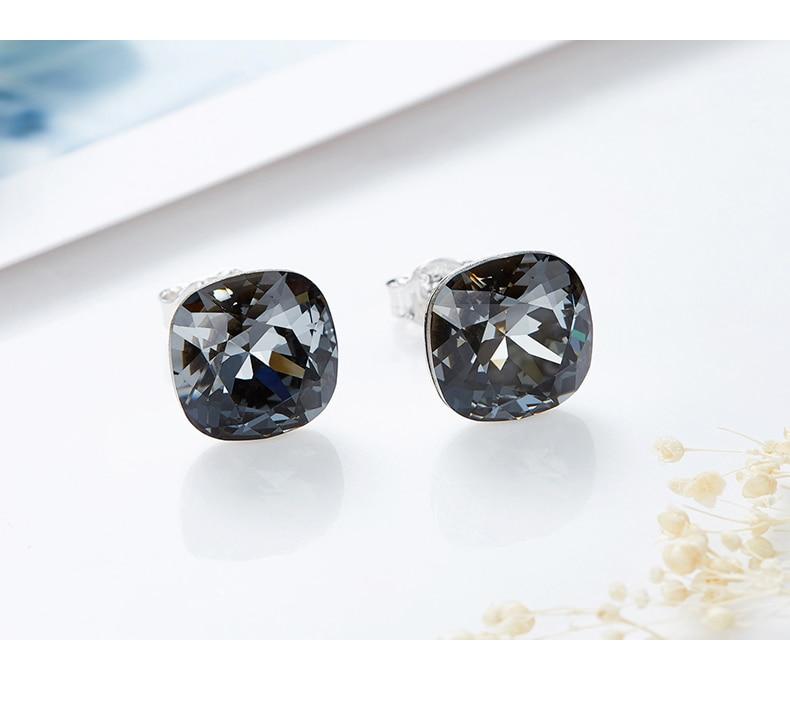 HTB1bon8bjzuK1RjSspeq6ziHVXaS CDE 925 Sterling Silver Earrings Square Embellished with crystals Stud Earrings Women Earrings Womens Jewellery