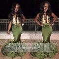 Sexy Longo do Baile de finalistas Vestido V Profundo neck Mangas Lace Top Cetim Stretch Andar de Comprimento Real Da Amostra Sereia Menina Africano Prom vestidos