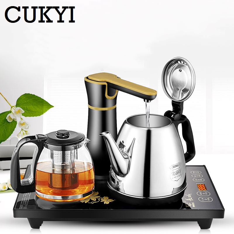 CUKYI Electric Kettles Household Tea Pot Set 1.0L Capacity Stainless Steel Safety Auto-off Function, Black