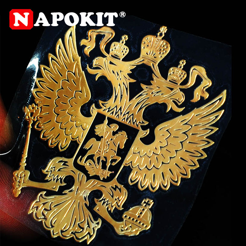5.8cm X 5.2cm Russian Federation National Emblem Coat Of Arms Of Russia Nickel Eagle Metal Stickers Decal Car Decoration Sticker
