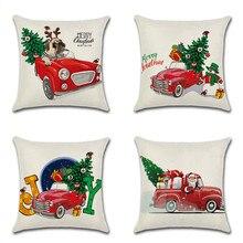 Cute Cartoon Pattern Pillowcase Merry Chritmas Tree Animal Dog Printed Throw Pillow Case Office Chair Pillow Cover 45x45cm цена в Москве и Питере