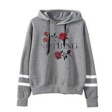 купить winter and new Europe style rose floral hoodies woman sweatshirt fashion hooded pullover long sleeve female sweatshirt XL дешево