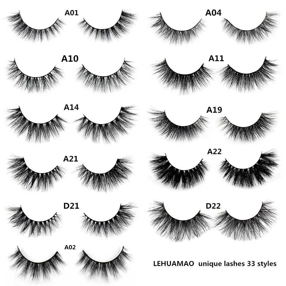 af5a185ac57 LEHUAMAO A19 false eyelashes handmade real mink lashes fur long 3D strip  thick fake