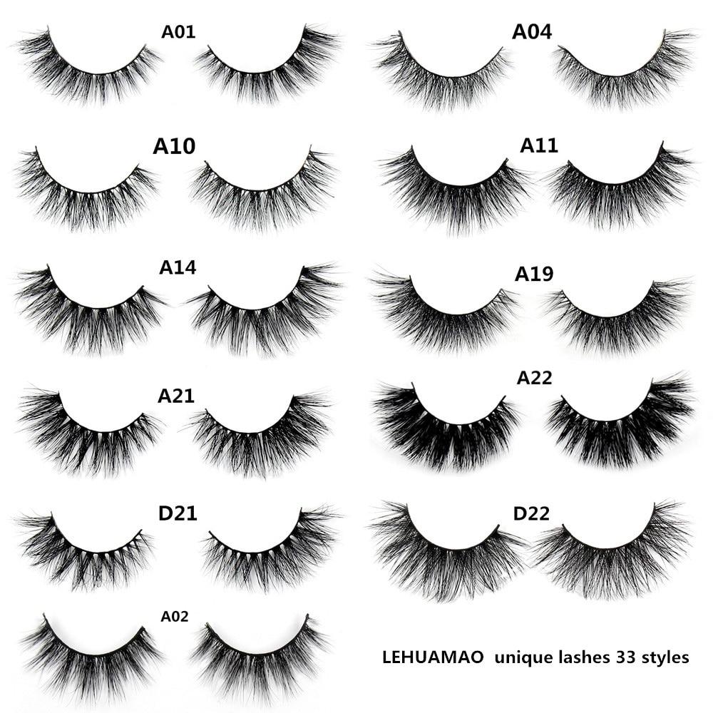 LEHUAMAO falsche Wimpern handgemachte echte Nerzwimpern Pelz lange 3D-Streifen dicke gefälschte Faux Nerz Wimpern Make-up Schönheit Werkzeug A19