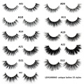 LEHUAMAO false eyelashes handmade real mink lashes fur long 3D strip thick fake faux mink eyelashes Makeup beauty tool A19