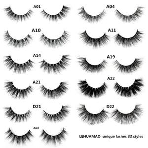 Image 1 - LEHUAMAO false eyelashes handmade real mink lashes fur long 3D strip thick fake faux mink eyelashes Makeup beauty tool A19