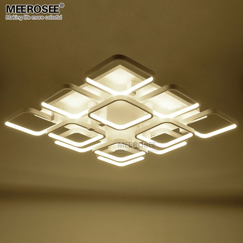 High Quality LED Flush Mounted Ceiling light fitting Modern White Acrylic Square Ceiling lamp for shopping mall Hotel LED lustre