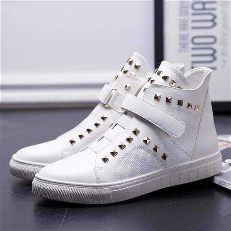 2017 men casual shoes high top hip hop shoes rivet hook & loop flat trainers male gumshoes zapatillas deportivas hombre XK110302 gram epos men casual shoes top quality men high top shoes fashion breathable hip hop shoes men red black white chaussure hommre