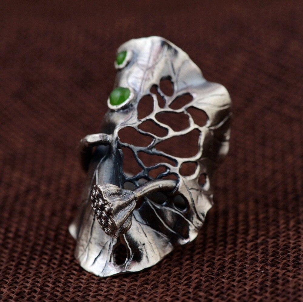 100% réel 990 Sterling argent grand Lotus feuille anneau pour femmes hommes Vintage vert pierre anneaux ouverts fête bijoux de mode accessoires