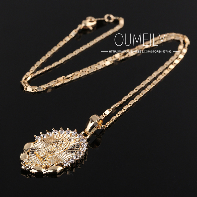 OUMEILY Fashion Jesus Necklace For Women Men Statement Vintage Pendant Holiday Christian African Beads Gold Color Accessories 3
