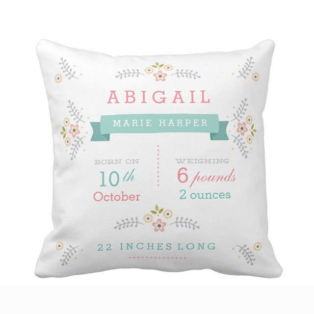 Custom Fl Garden Baby Birth Stats Throw Pillow Cover Home Decorative Cushion Covers For Sofa