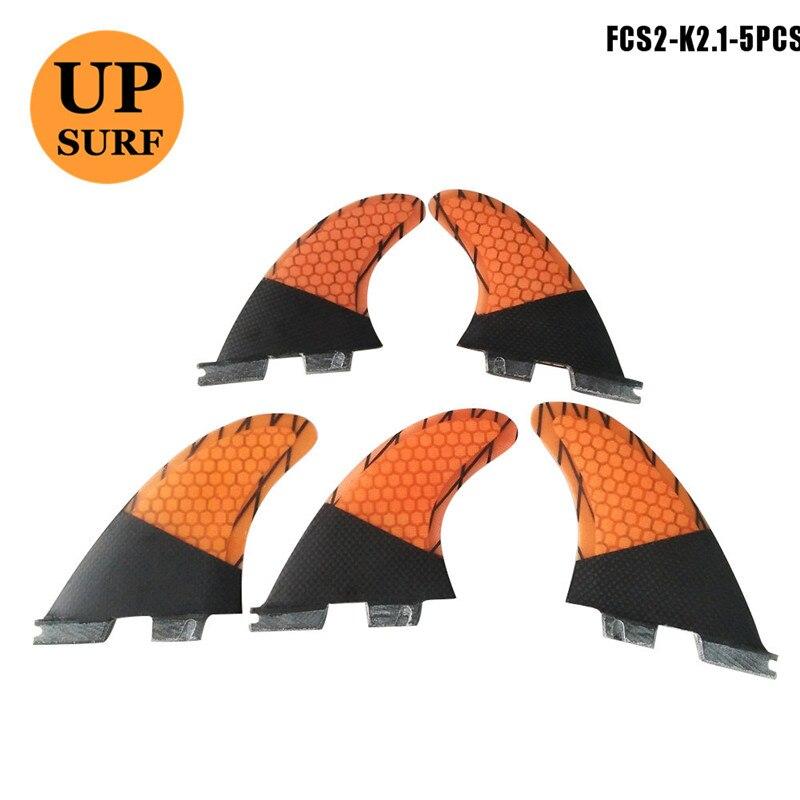Surf FCS2 K2.1 FCS II Fins Tri-Quad Set Honeycomb Fin Carbon Fiber Surfboard Fin 5 Fins Set
