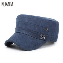 Brand NUZADA 2017 Cotton Unisex Men Women Flat Top Cap Do Old Effect Military Hats Classic Solid Color Visor Hat Summer Autumn