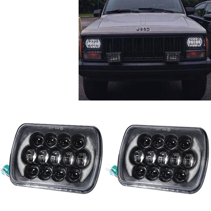 DOT Approved 85W 5x7 7x6 Inch Rectangular LED Headlights with Hi-Lo Beam for Jeep Wrangler YJ XJ MJ Offroad Headlamp Replacement