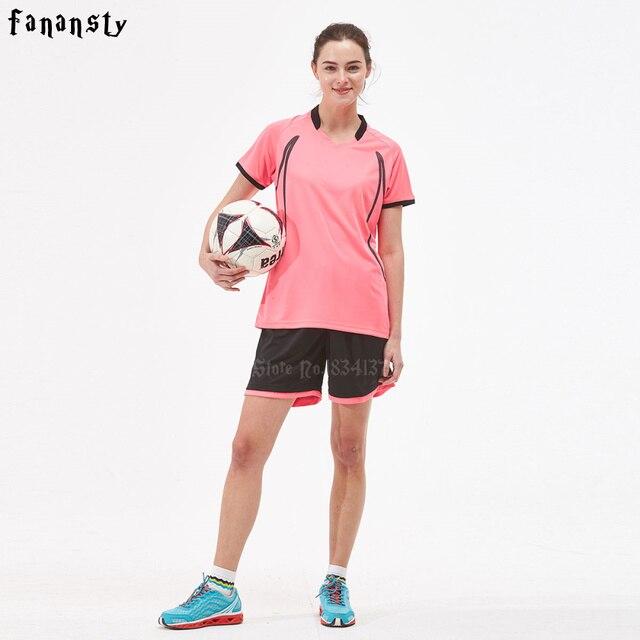 406ba831507 High quality soccer jerseys women short sleeve customized football kits  sports suits team soccer uniforms set girls new