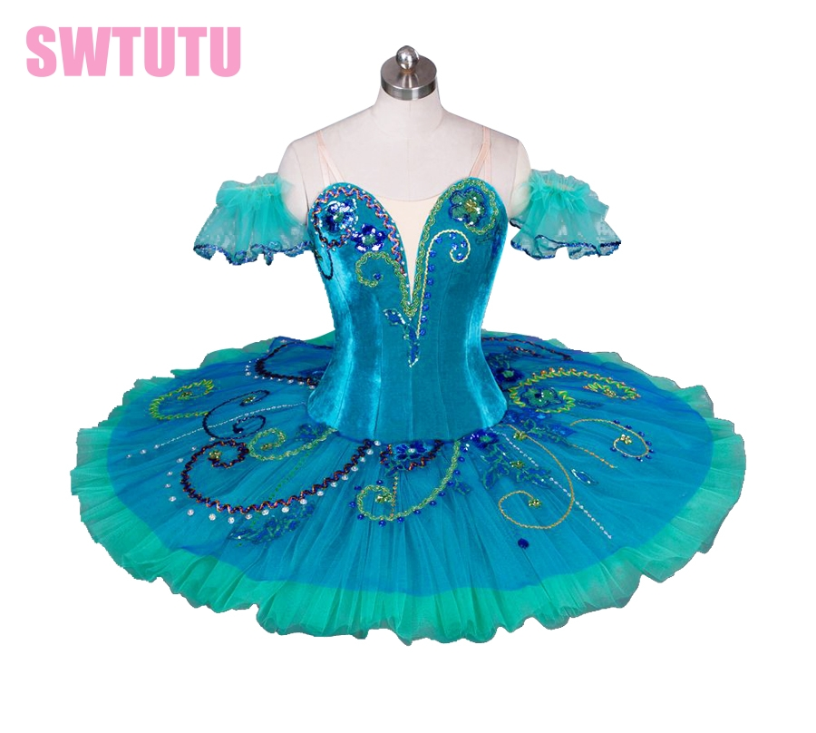 Women high quality green ballet tutu with velvet bodice,professional classical ballet tutu for girls,tutu dance BT9038