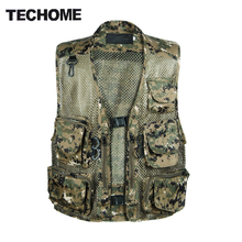 Chaleco Hombre Camo Mesh Multi Taschen Camo Fish Hunt Weste Schießen Weste Esporte Sleeveless Jacke mesh Camouflage Weste