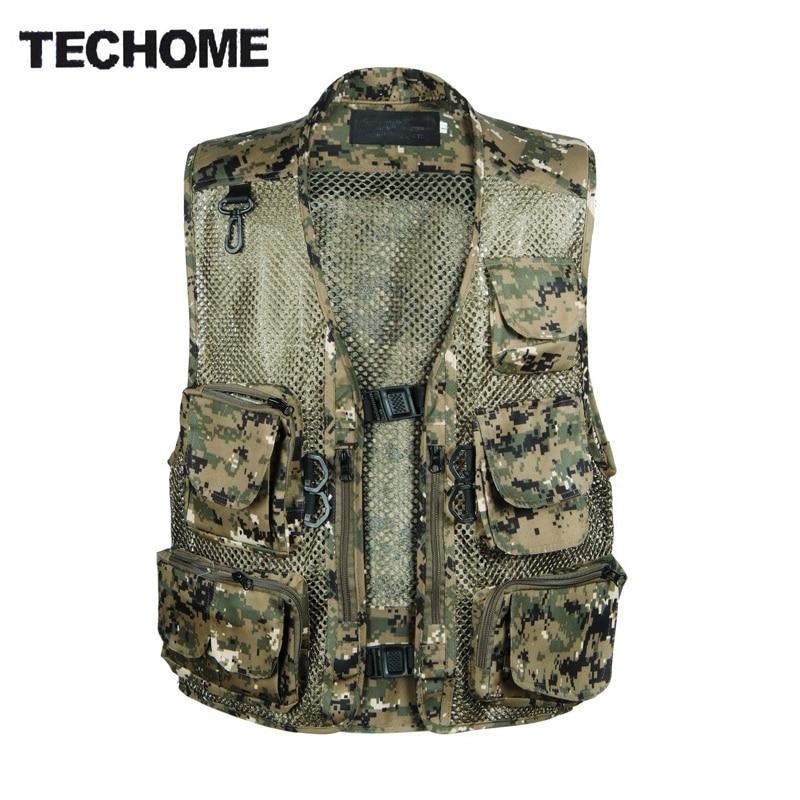 Chaleco Hombre Camo Mesh Multi Pockets Camo Fish Hunt Vest Shooting Waistcoat Esporte Sleeveless Jacket mesh Camouflage Vest
