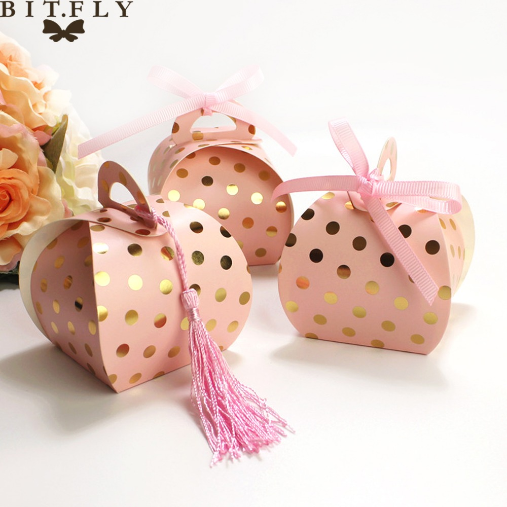 10PCS Fashion Classical Dot Printed Tassel Candy Box Bag Gift Package For Baby Shower Birthday Wedding Festival Party Supplies