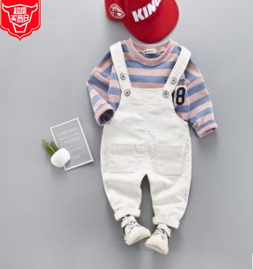 Baby Boys Spring Suit 2019 New Arrival Striped T shirt Strap Pants Suit Fashion Cartoon Children 39 s Clothing Set SY F191207 in Clothing Sets from Mother amp Kids