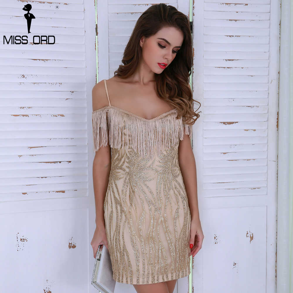 Missord 2019 Sexy Off Shoulder Kwastje Glitter Mini Gold Elegante Jurk FT8599-1
