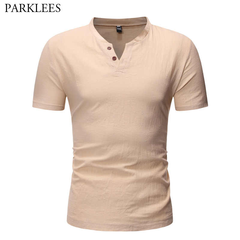 メンズカジュアルドレスシャツ 2019 ブランド新夏半袖リネンヘンリーシャツ男性スリムフィットシャツシュミーズオム 5XL