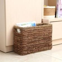 Simple straw rectangular storage basket magazine  finishing