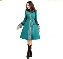2016 Autumn and Winter Fashion Vintage Lantern Sleeve Female Cotton Parkas Medium-long Lace Patchwork Thick Cotton-padded Jacket